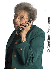 senior woman telephone - attractive senior woman business...