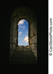Ray of Hope - Church Keyhole with Blue Sky and Clouds in...