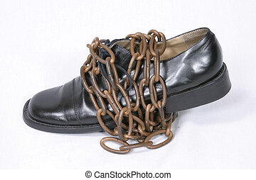 Chains That Bind - Black oxford dress shoe wrapped in bronze...