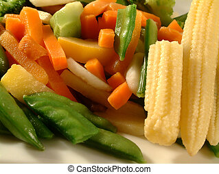 vegetables - variety of vegetables, cooked and served on a...