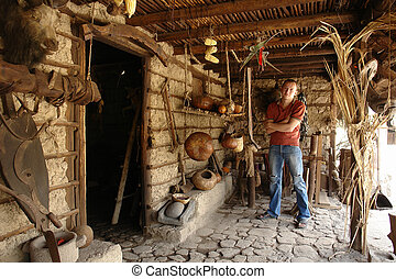 man in the house - The man in the ancient indian house...