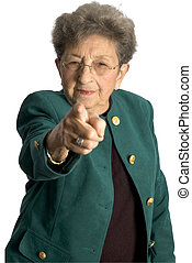 senior woman serious pointing - attractive senior woman...