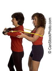 two women exercising