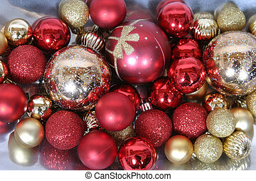 Ornaments - shiny red and gold christmas tree ornaments
