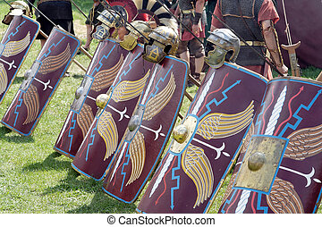 Roman legionaries - Shields and weapons of roman legionaries