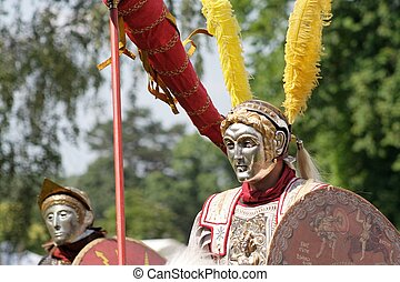 Roman parade riders - Closeup of two roman parade riders in...