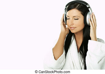 Beauty with headphones - Portrait of Beautiful brunette...