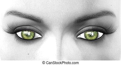 vert, yeux, regarder