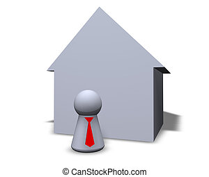 broker - play figure with red tie and house