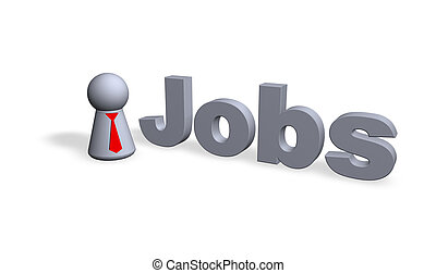 jobs text in 3d and play figure businessman