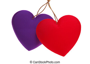 Overlapping Hearts - Red purple Fabric Overlapping Hearts...