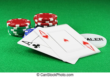 Poker - A Pair of Aces with Poker Chips - Playing cards...