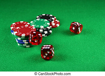 An Action shot of 5 dice thrown onto the table - Action shot...