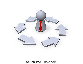 business cycle - play figure businessman with red tie and...