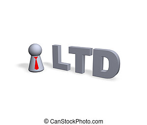 ltd - play figure with red tie and ltd text in 3d