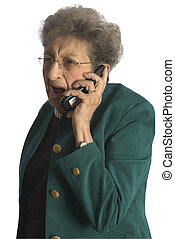 senior woman on phone - shocked angry senior woman on...