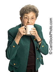 woman with cup - attractive senior woman business executive...