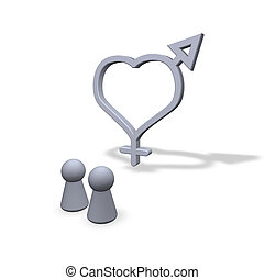 love - play figures and symbols male female at heart