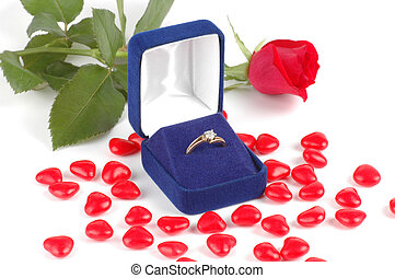 Engagement Ring - Engagement ring and a red rose
