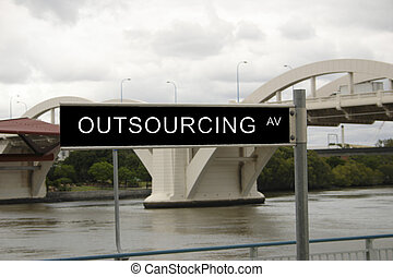 outsourcing avenue - street sign featuring a business...