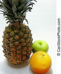 Fruit 2 - Photo of a pineapple, apple, and orange isolated...