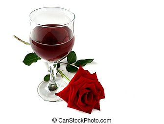 wine and rose - red wine glass and a red rose isolated on...