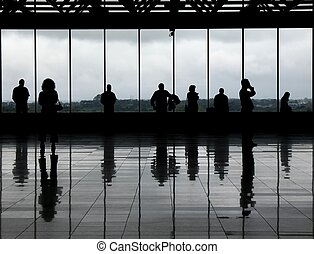 Observation deck - 1 - Silhouetted people against the...