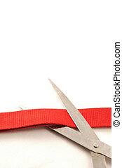 Cutting red ribbon - inauguration, cutting a red ribbon with...