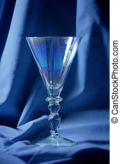 Blue glass - Glass of champagne on a blue background