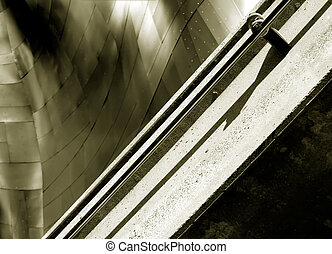 Monorail and Metal - Abstract view of a metal buildiing with...