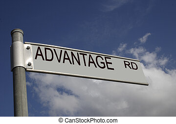 advantage road - road sign overlaid with a business message