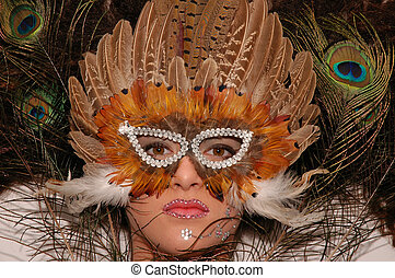 Mask - Girl wearing makeup made of rhinestone flowers with...