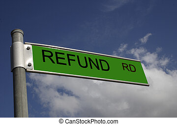 refund road - street sign overlaid with a business message