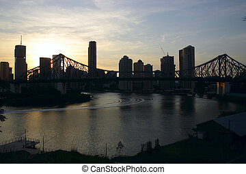 new day in australia - dawn rising in australian river city...