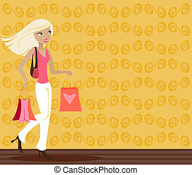 Blonde Shopper - Stylish blonde with shopping bags in hand