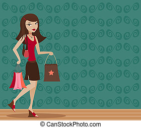 Brunette Shopper - Stylish brunette with shopping bags in...