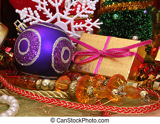 Christmas Gift and Christmas Ornaments with Beads and Ribbon