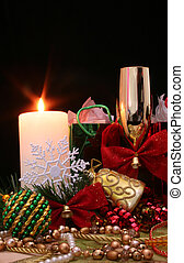 Christmas Candle - Christmas Ornaments and Candle on black...