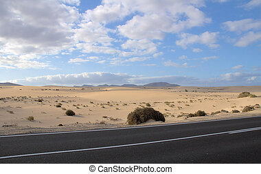 Fuerteventura 6 - Road along the dunescape of Fuerteventura