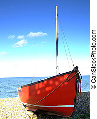 Boat 002 - A boat moored on the beach in England