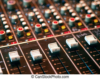 Mixing console in a recording studio