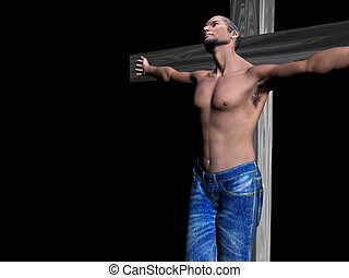 Crucifixion, easter, faith - Afro american man nailed to a...