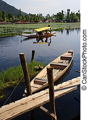 Kashmir taxi - Water taxi in Kashmir, India taking...