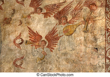 Frescoes in Alquezar, Spain - Frescoes in the Collegiate...
