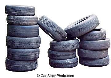 used tyre - a pile of used tyre isolated on white background