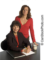 corporate team - two corporate partners middle aged women in...