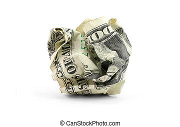 crumpled usa dollar ball