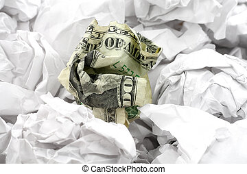 crumpled usa dollar ball, business concept