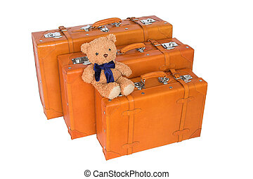 suitcases - leather suitcases and teddy bear