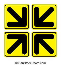 Arrows in - Four big yellow arrows signs composition in